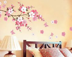 Japanese Pink Cherry Blossom Tree with Butterflies Decal Wall Decal - Vinyl Wall Stickers Art Graphics, Removable 96