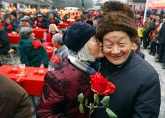 ChinaJin Juhua kisses her husband Zhong Weiqiao at a gathering of 60 couples who have been married to each other for over five decades, in Kaihua village of Zhuji city, Zhejiang province, China, on Feb. 14. Jin and Zhong have been married for more than 60 years.Gou Bin/EPA