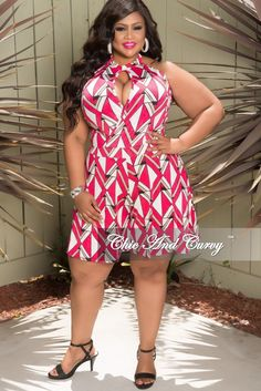 c1060e999a3 Plus Size Halter Faux Wrap Romper in Hot Pink – Chic And Curvy Chic And  Curvy