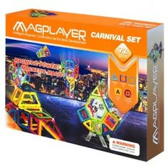 Set de constructie magnetic MAGPLAYER - 72 piese 2 In, Magnets, Games, Children, Carnival, Geometry, Playmobil, Young Children, Boys