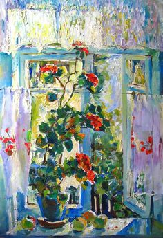 Lacy curtains blue wall red flowers, warmth, light, old fashioned kitchen