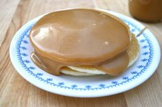 1 Minute Peanut Butter Syrup-                1/2 cup honey or maple syrup 1/4 cup creamy peanut butter. Place In microwave safe bowl or measuring cup, combine syrup and peanut butter.  Place in Microwave for 30 seconds. Stir. Microwave thirty seconds more. Stir until creamy and well combined. Pour over and enjoy! :o)