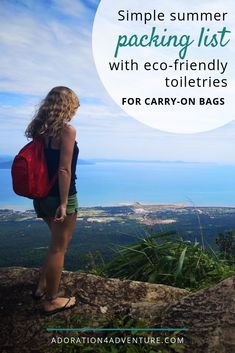 Packing list for warm-weather vacations with eco-friendly toiletries to fit into a carry-on (for women and men). PLUS: free printable packing checklist! #packinglist #carryon #summervacation #ecofriendly