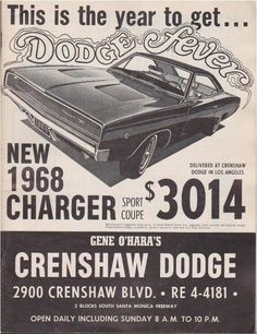 1968 Dodge Charger New car sticker price. I'd like to travel back in time with a fist full of dollars and buy up a few of the classic cars from this era at that price.