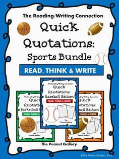 Common Core requires that students understand complex text independently. Here's a quick way for students to practice that really uses thinking skills! This would work well independently or in partners. It would also be great in an independent writing center or as a bell-ringer activity. Students analyze/ respond to a quotation (or more than one) of a famous baseball, basketball, or football player. This bundle includes 45 different quotation sheets. Check out my other Quick Quotations sets…