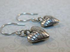 Karen Hill Tribe sterling silver puffed heart drop earrings | belhavenstudios - Jewelry on ArtFire
