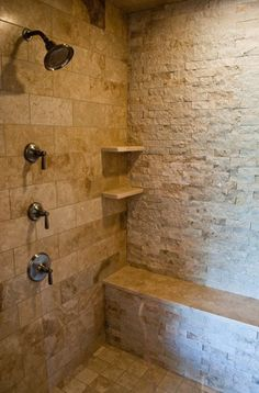 Stone bathroom...perfect for the cabana bathroom we want to build [ MexicanConnexionforTile.com ] #bathroom #Talavera #Mexican