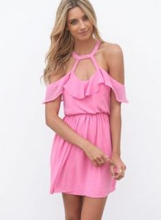 959674b1f64 Pink Party Dress - Pink Cutout Dress with Frill http   www.ustrendy