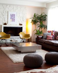 A big cozy factor and a nice balance of masculine and feminine are at work in this living room.