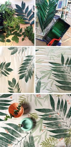 diy printmaking Super coole Idee l Mit Blttern drucken l Tolle Unikate basteln l printmaking with leaves Fabric Painting, Fabric Art, Fabric Crafts, Paint Fabric, Buy Fabric, Fabric Decor, Body Painting, Fabric Design, Art Diy