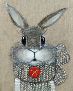 Bunny Art in Gray White Red Button Funny Bunnies, Cute Bunny, Illustrations, Illustration Art, Bunny Painting, Rabbit Art, Bunny Art, Whimsical Art, Cute Drawings