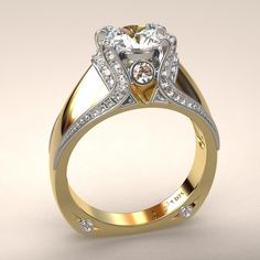 Italian Top Ladies Diamond And 18k Yellow And White Gold Ring Greg Neeley Designs.......