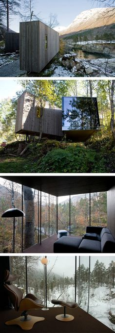 Striking and yet subtle (thanks to the materials) insertion into the forest landscape. Juvet Landscape Hotel