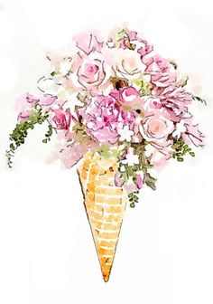 Flower Ice Cream Cone Bouquet Print from Watercolor by LAscandal