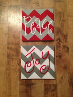 canvas set by kellpants on Etsy Holiday Canvas, Christmas Paintings On Canvas, Christmas Canvas, Christmas Art, Christmas Projects, Holiday Crafts, Holiday Fun, Chevron Christmas, Christmas Ideas