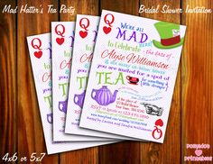 Mad Hatter's Tea Party Bridal Shower Invitation  by pdotprintables, $12.00