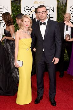 Pin for Later: Golden Globes 2015: Tous les Looks de la Soirée Naomi Watts et Liev Schreiber
