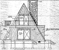 A-Frame Contemporary Retro Rear Elevation of Plan 86950