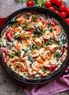 Creamy Shrimp Skillet with Greens and Tomato - food to glow food to glow
