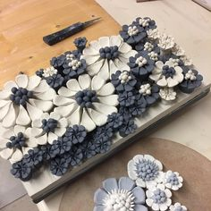 Layers of porcelain flowers blackporcelain porcelain porcelainflowers clay ceramics pottery handmade ceramicist maker tile Clay Wall Art, Ceramic Wall Art, Ceramic Clay, Porcelain Ceramics, Ceramic Pottery, Porcelain Tiles, Porcelain Skin, Porcelain Doll, Painted Porcelain