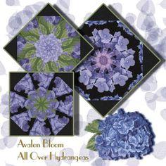 All Over Hydrangeas Kaleidoscope Quilt Block