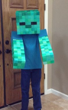 "Easy ""No Sew"" Soft Minecraft Zombie Costume. - Minecraft World Minecraft Zombie, Minecraft Halloween Costume, Creeper Costume, Minecraft Costumes, Zombie Halloween Costumes, Theme Halloween, Minecraft Crafts, Boy Halloween Costumes, Halloween Kids"