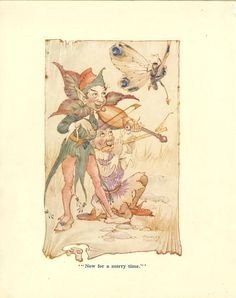 Charles Folkard- Elves playing violin and flute!