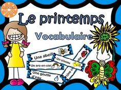Printemps - vocabulaire FREEBIE - French words for Spring Free French Lessons, Free In French, French Teacher, Teaching French, Spring Words, Core French, French Classroom, French Resources, French Language Learning