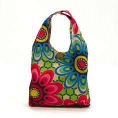 Flowers Pattern Reusable Trendy Fashion shopping Tote Bag / Eco