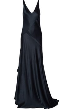 Narciso Rodriguez - Paneled Silk-satin Gown - Navy - IT