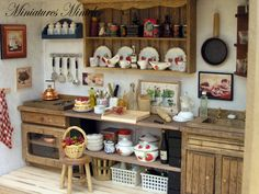 Miniature Dollhouse Kitchen RoomBox Old Style Fully by Minicler, $169.43
