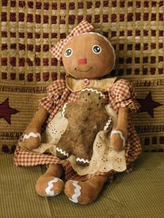 Primitive Gingerbread Girl Doll w her Gingerbread Man Christmas Decoration | eBay
