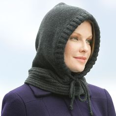 The Lady's Hooded Neckwarmer - Hammacher Schlemmer - 95% Merino wool, 5% Cashmere