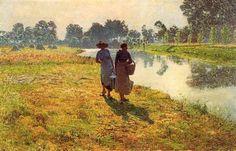 Mujeres campesinas jóvenes en el leie - Emile Claus