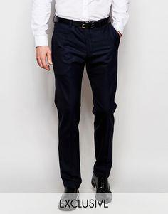 Mega seje Number Eight Savile Row Exclusive Wool Mix Trousers in Slim Fit - Navy Number Eight Savile Row Bukser til Herrer i luksus kvalitet