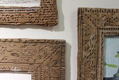 Detail of Carved Cardboard Art Frames by Sebastian Mejia