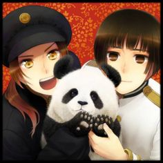 China and Japan, With a Panda! XD