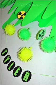 Decorating Ideas for Mad Scientist party- like the ooze from ceiling for photo booth area.