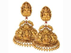 look closely Gold Jhumka Earrings, Gold Earrings Designs, Jhumka Designs, Jumka Earrings, Gold Necklace, Gold Temple Jewellery, Gold Wedding Jewelry, Bridal Jewellery, Antique Jewellery Designs
