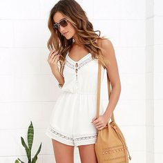 Women Cold Shoulder Backless Hook Flower Beach Summer Lace Romper