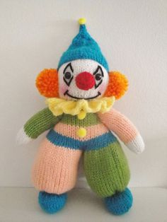 by Mary Bond on Etsy Clowny clown time! by Mary Bond on Etsy Knitted Doll Patterns, Animal Knitting Patterns, Knitted Dolls, Stuffed Animal Patterns, Knitted Teddy Bear, Crochet Teddy, Crochet Toys, Simply Knitting, Free Knitting