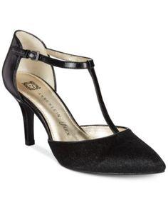 Macys Anne Klein Yatima Pointed Toe T-Strap Dress Pumps