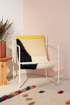 Kimball Colorblock Macrame Sling Chair: