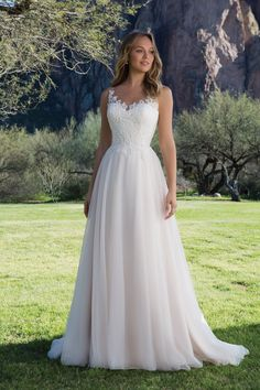 Tulle A-Line Gown with Scoop Lace Neckline STYLE 1150
