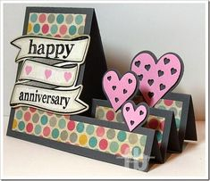 created by Frances Byrne using – The Stamps of Life and Sizzix Hearts Step-Ups Card Framelits Flip Cards, Fun Fold Cards, Pop Up Cards, Folded Cards, Cards Diy, Center Step Cards, Side Step Card, Wedding Anniversary Cards, Anniversary Crafts