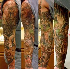 African Animal Tattoos On Sleeve