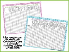 Kindergarten ELA and Math Common Core Editable Pacing Guide and Checklist!  Everything in one spot.