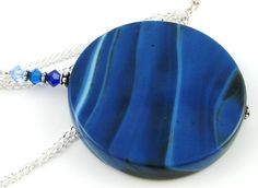 Royal Blue Dyed Chalcedony Coin Gemstone and by OklahomaMama, $30.00