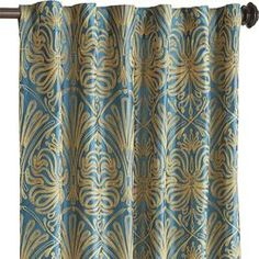 Alexis Embroidered Curtain - Teal 84""