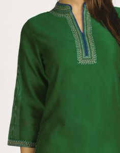 Fabindia.com | Silk Cotton Chanderi Achkan Embroidery Mini Kurta